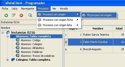 Ejecución de procesos en vDataClient 3