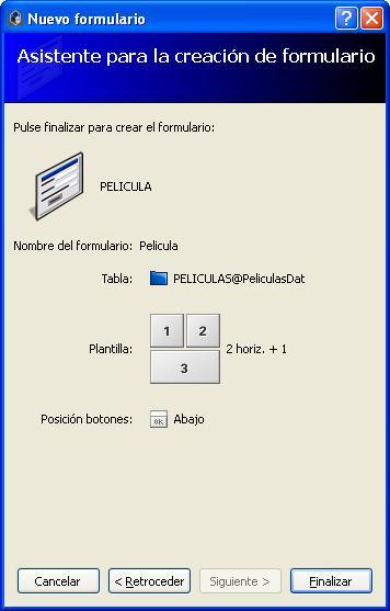 Asistente de creación de formularios - Velneo V7 - Resumen final