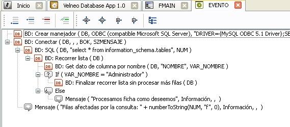 Evento con acceso a base de datos externa por ODBC