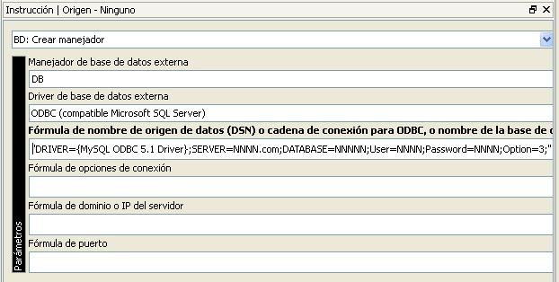 """Parámetros del comando """"BD: Crear manejador"""""""