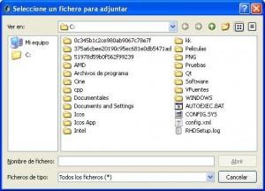 Selección de fichero adjunto