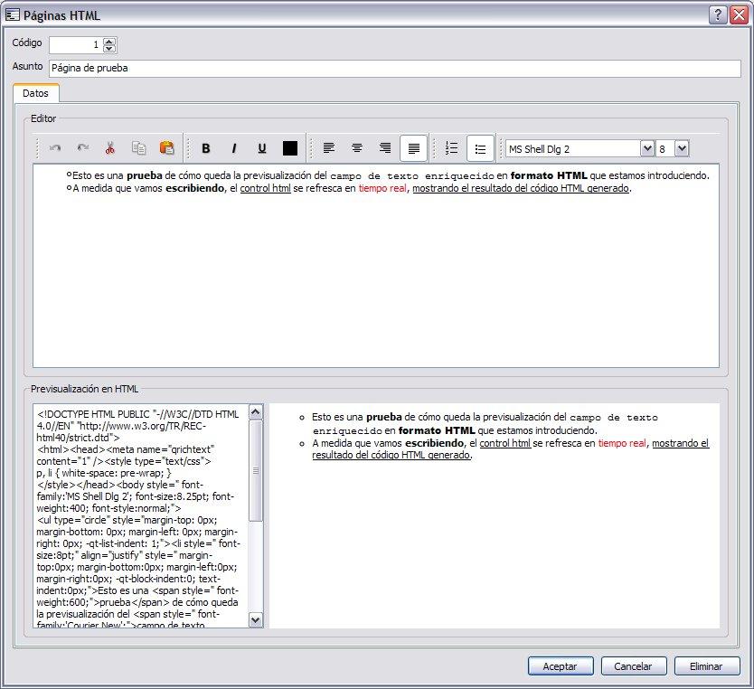 Control HTML con contenido dinámico 1