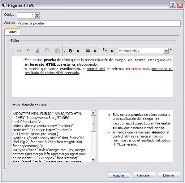 Control HTML con contenido dinámico 2