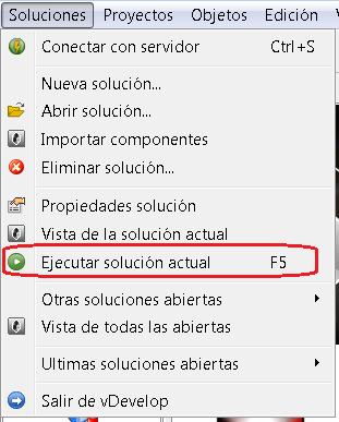 Ejecución de solución desde Velneo vDevelop (F5) 1