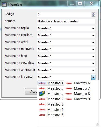 Vista de datos de control de edición de maestro 1