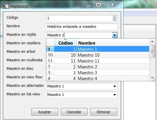 Vista de datos de control de edición de maestro 2