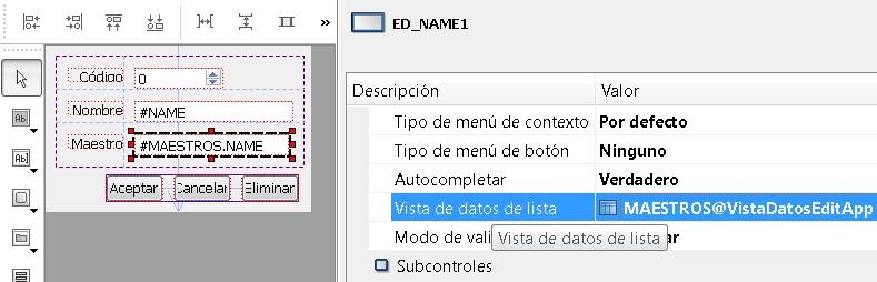 Vista de datos de control de edición de maestro 3