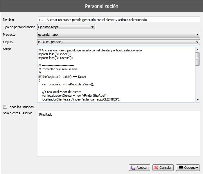 Cómo personalizar aplicaciones en ejecución. Formulario de configuración avanzada